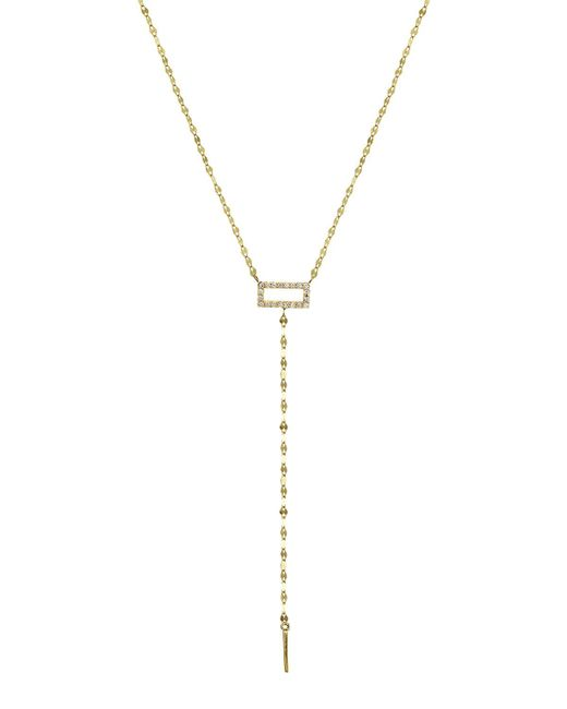 Lana Jewelry - Metallic Mini Diamond Rectangle Lariat Necklace - Lyst