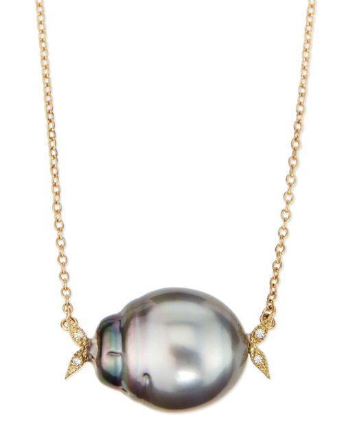 Mizuki   Metallic 14k Gold Diamond Leaf & Black Tahitian Pearl Necklace   Lyst