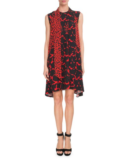 Givenchy - Red Sleeveless Leopard-print Scarf-neck Oversized Silk Crepe Dress - Lyst