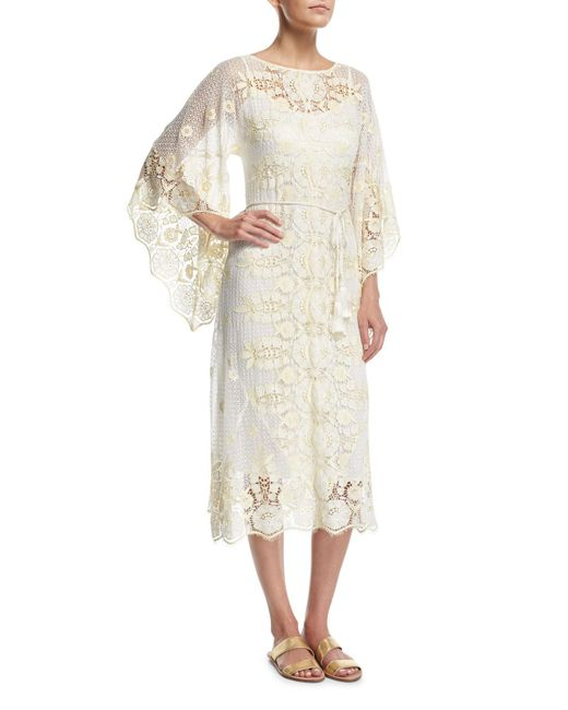 Miguelina - White Olivia Sheer Lace Coverup Dress - Lyst