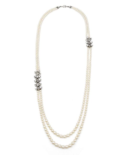 Ben-Amun Metallic Two-row Pearly Beaded Necklace