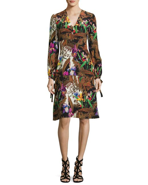 Etro   Black Jungle-print Tie Long-sleeve Dress   Lyst