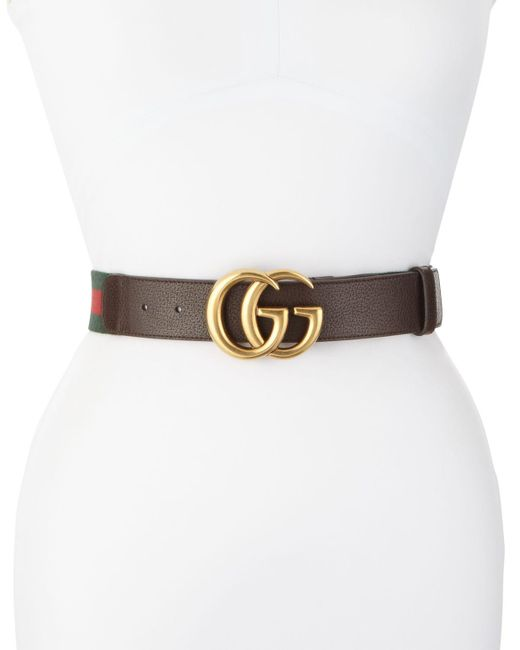 Gucci Brown Wide Leather/web Belt