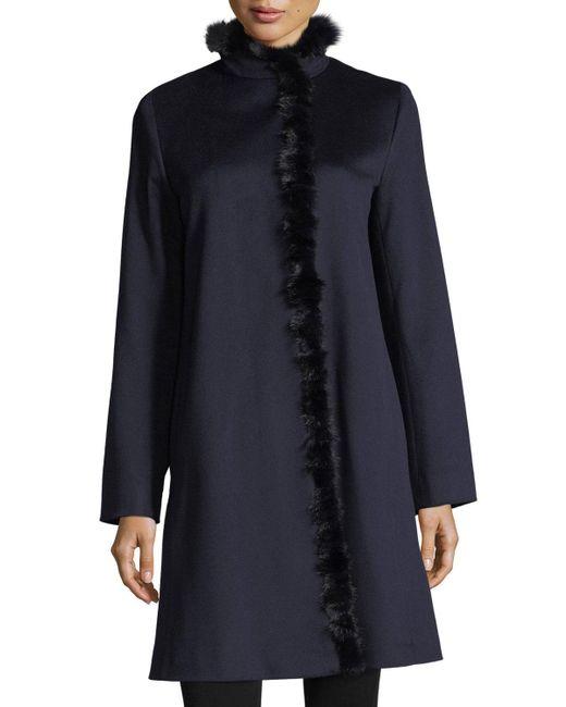 Fleurette - Blue Modern Stand-collar Dress Coat W/ Mink Trim - Lyst