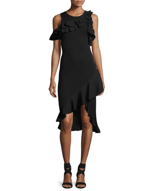 A.L.C. - Black Kellam Crewneck Sleeveless Dress With Ruffled Trim - Lyst