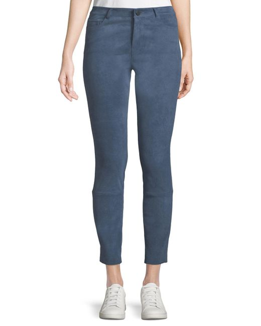 Theory Blue Washable Stretch-suede Five-pocket Cropped Pants