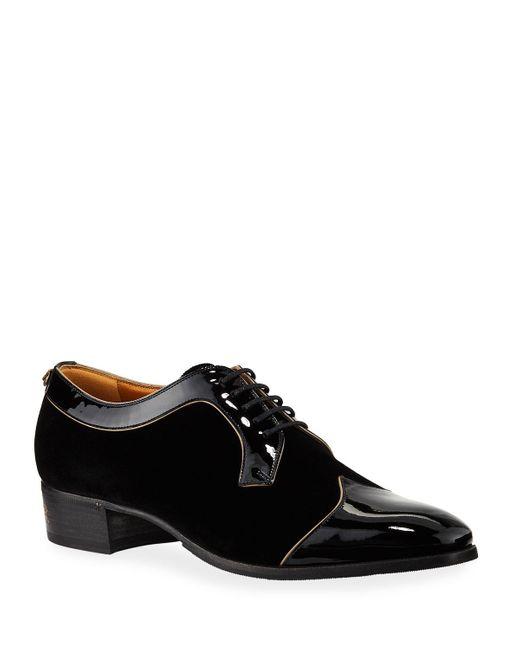 Gucci Black Thune Velvet & Patent Leather Oxfords for men