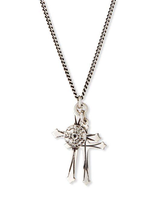Emanuele Bicocchi Metallic Men's Double Cross Pendant Necklace