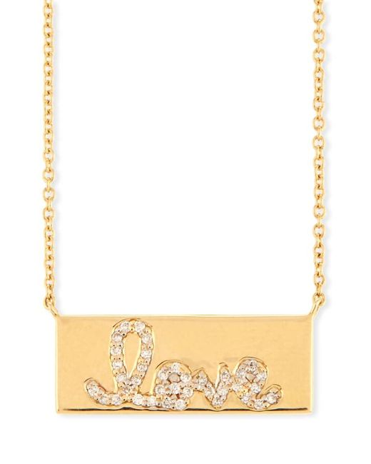Sydney Evan Metallic Pavé Diamond Love Bar Necklace