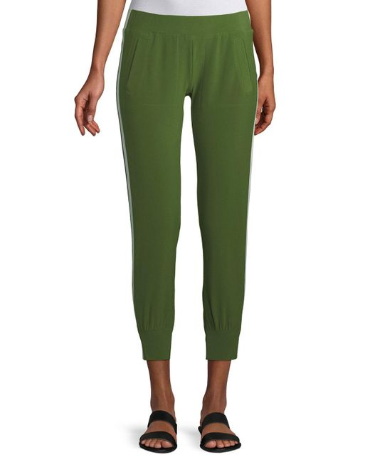 Norma Kamali - Green Side-stripe Jogger Pants - Lyst