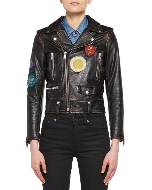 Saint Laurent | Black Leather Moto Jacket With Patches for Men | Lyst