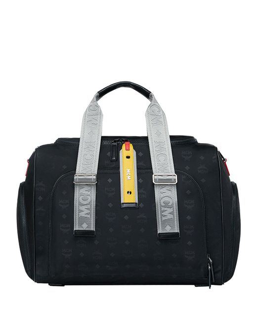 Black Men S Resnick Monogrammed Nylon Weekender Bag