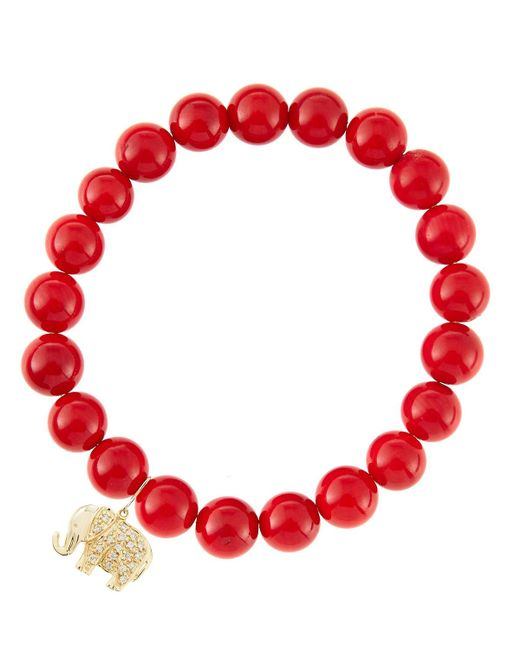 Sydney Evan - 8Mm Red Coral Beaded Bracelet With 14K Yellow Gold/Diamond Small Hamsa Charm (Made To Order) - Lyst