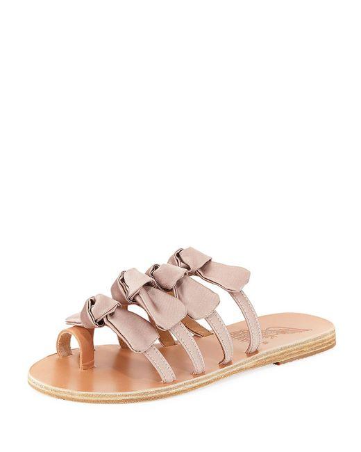 Ancient Greek Sandals - Natural Hara Satin Bow Slide Sandal - Lyst