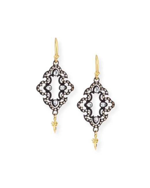 Armenta - Metallic 18k Yellow Gold And Blackened Sterling Silver Old World Champagne Diamond And White Sapphire Scroll Drop Earrings - Lyst