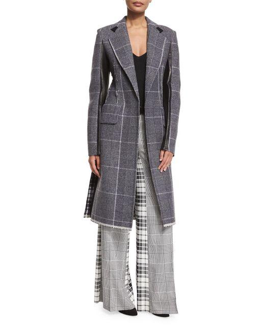 CALVIN KLEIN 205W39NYC - Black Mixed-plaid Wool Coat W/leather Trim - Lyst