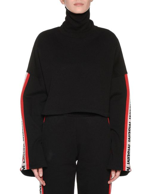 MSGM - Black Bell-sleeve Cropped Logo Turtleneck Sweatshirt - Lyst