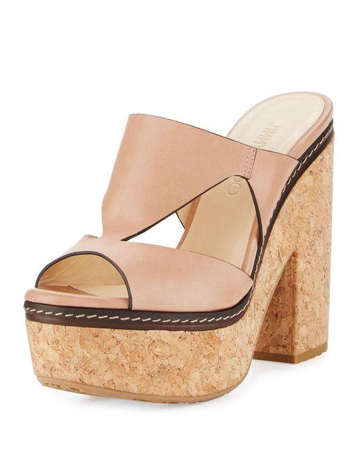 Jimmy Choo | Natural Nixie Leather Cork Platform Sandal | Lyst