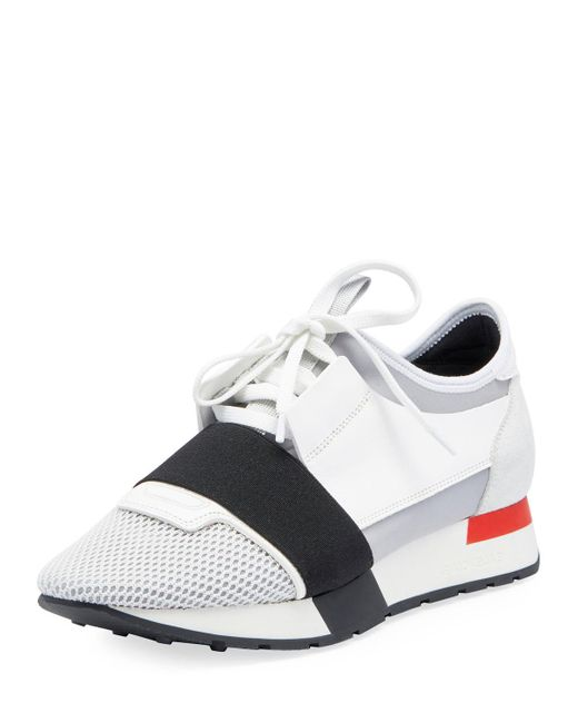 85f95be17b03 ... Lyst Balenciaga Mesh   Leather Sneakers in White