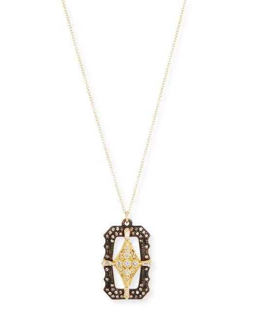 Armenta - Metallic Old World Scalloped Rectangular Pendant Necklace With Diamonds - Lyst