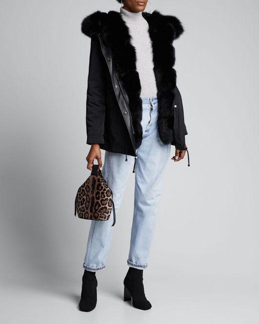Nicole Benisti Black Ludlow Fox Fur Reversible Coat