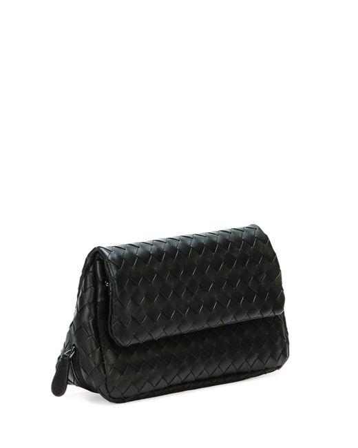 3e69d71d39 ... Bottega Veneta - Black Intrecciato Small Chain Crossbody Bag - Lyst ...