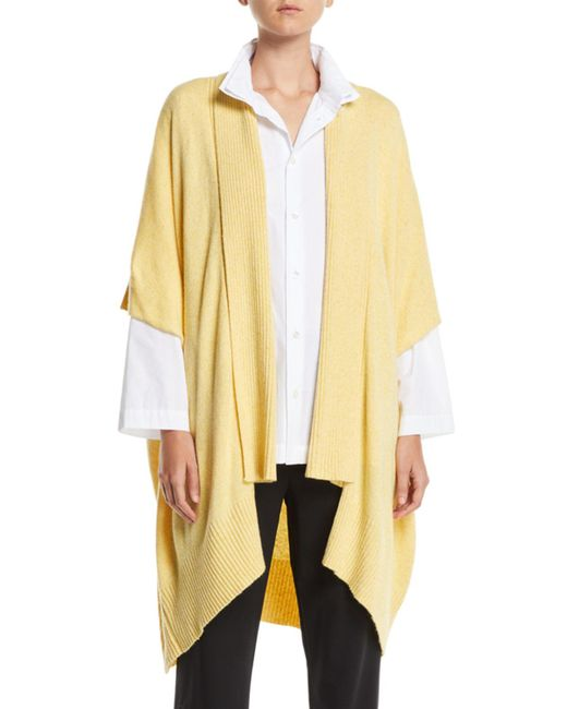 Eskandar - Yellow Ribbed Shawl-collar Open-front Tabard Cardigan - Lyst