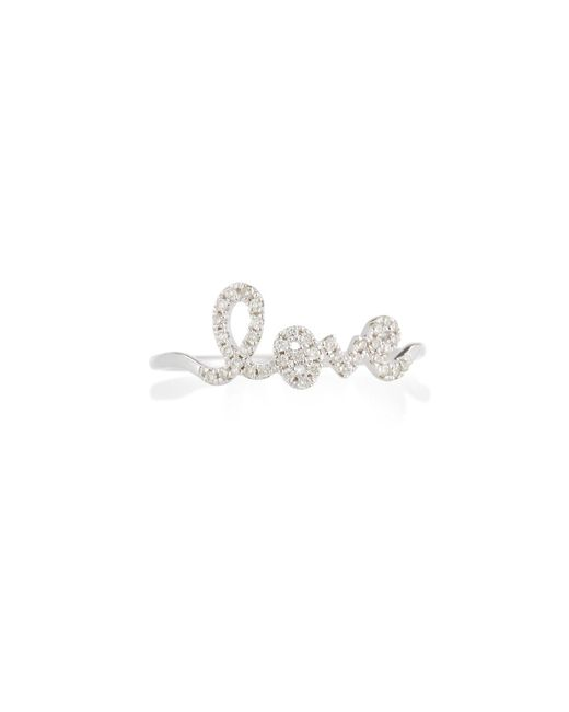 Sydney Evan | Multicolor 14k White Gold Diamond Love Script Ring | Lyst