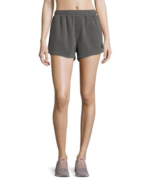 The Upside - Gray Paneled Run Double-fleece Shorts - Lyst