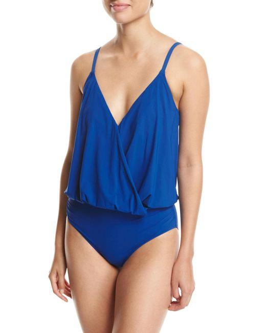 Gottex - Blue Lattice Surplice Blouson One-piece Swimsuit - Lyst