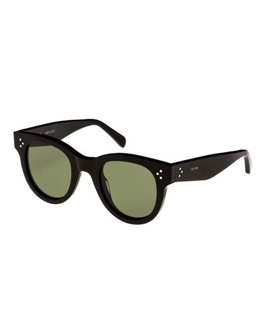 Céline Black Studded Acetate Sunglasses W/ Mineral Lenses