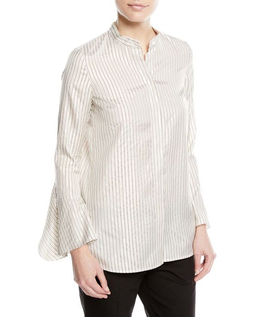 Lafayette 148 New York - Natural Graydon Striped Silk-blend Blouse - Lyst