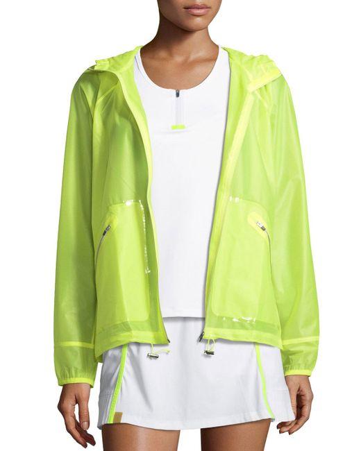Monreal London Yellow Wave Hooded Zip-front Wind-resistant Jacket