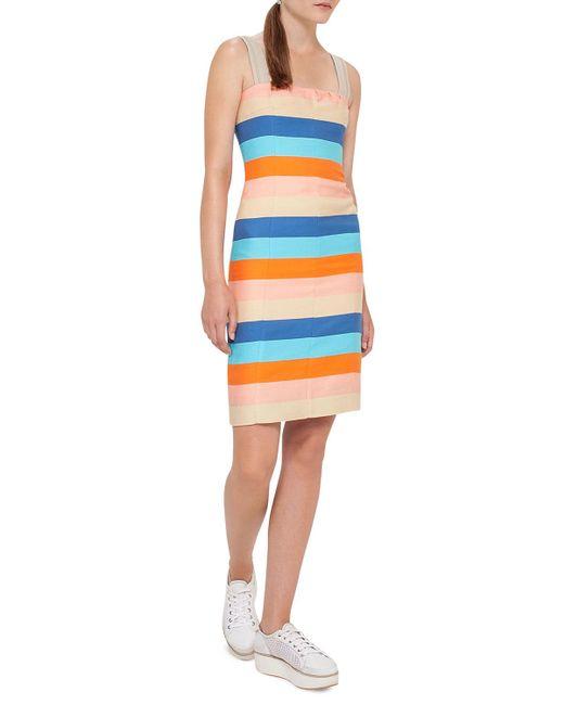 Akris Punto | Blue Striped Cotton-silk Sleeveless Dress | Lyst