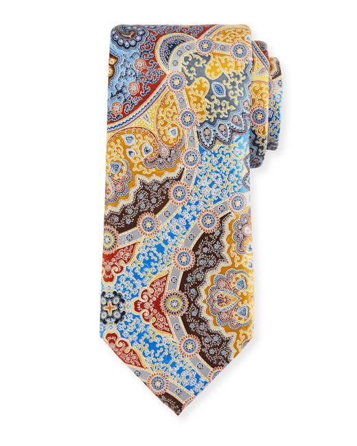 Ermenegildo Zegna - Metallic Quindici Large Medallion Silk Tie for Men - Lyst