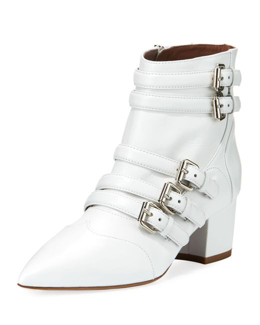 Tabitha Simmons - White Christy Leather Buckle 50mm Bootie - Lyst