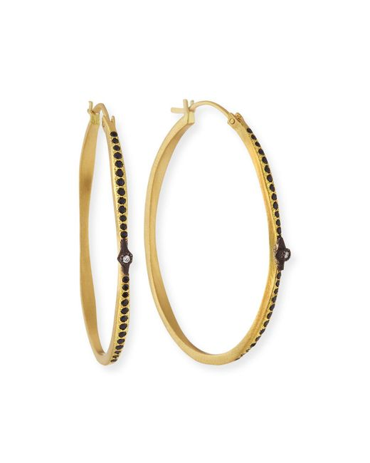 Armenta - Metallic Old World Hoop Earrings With Black Sapphires & Diamonds - Lyst