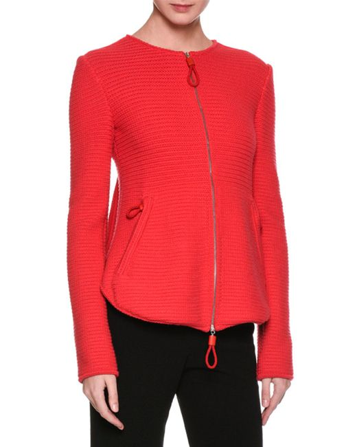 Giorgio Armani | Red Flounce-back Knit Zip-front Jacket | Lyst