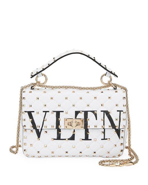 dcff49cb92 Valentino - White Spike. It Medium Vltn Logo Quilted Leather Shoulder Bag -  Lyst