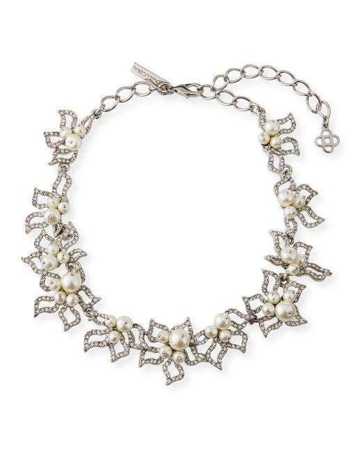 Oscar de la Renta - Metallic Pave Petal Collar Necklace - Lyst