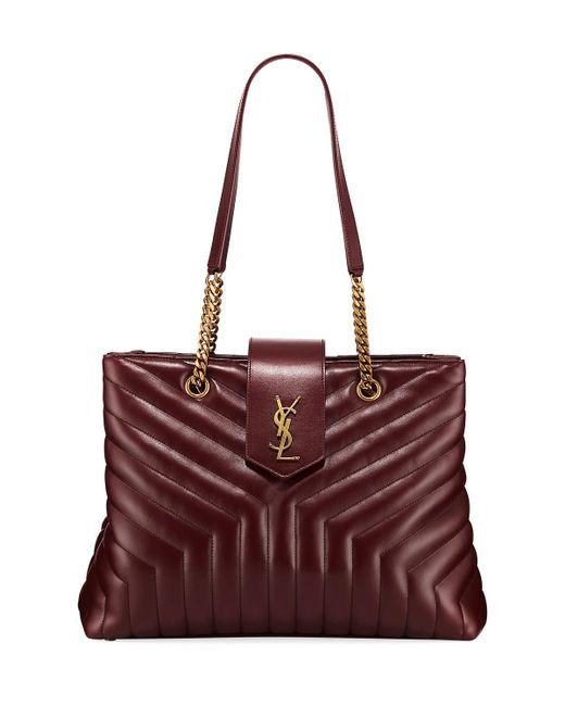 Saint Laurent - Red Loulou Monogram Ysl Large Quilted Shoulder Tote Bag - Lt. Bronze Hardware - Lyst