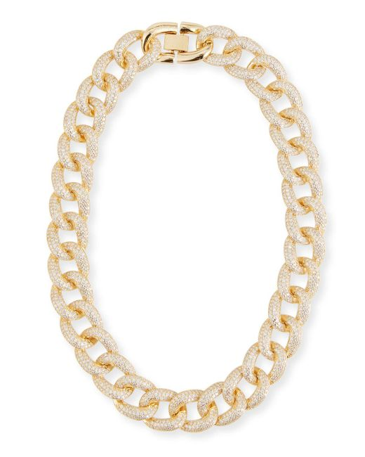 Fallon - Metallic Armure Cubic Zirconia Pavé Curb Chain Collar Necklace - Lyst
