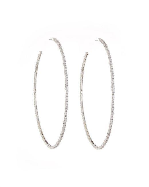 Fallon - Metallic Armure Pavé Macro Hoop Earrings - Lyst