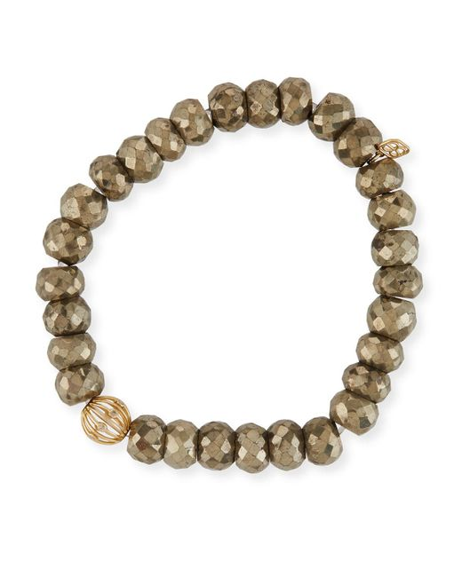 Sydney Evan - Metallic 8mm Pyrite Beaded Bracelet W/ 14k Diamond Ball Charm - Lyst