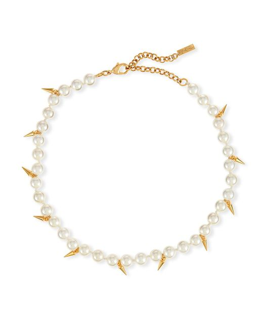 Fallon - Metallic Linda Pearly Spike Choker Necklace - Lyst