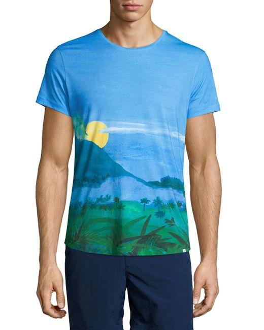Lyst orlebar brown jungle vista digital print short for Vista print tee shirt