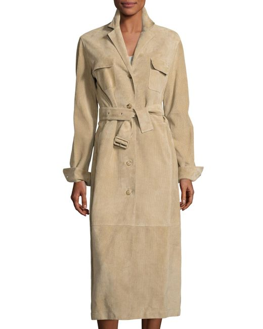 The Row | Natural Zoe Perforated Suede Trenchcoat | Lyst