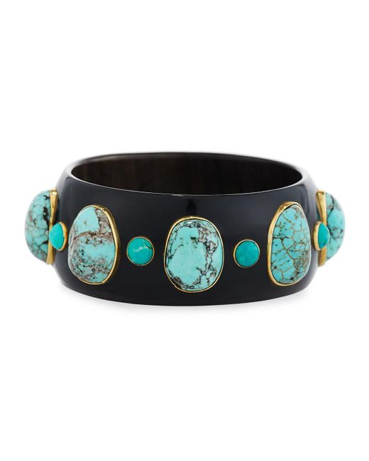 Ashley Pittman - Brown Michezo Turquoise-studded Dark Horn Bangle - Lyst