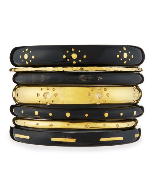 Ashley Pittman | Black Kaimu Seven-piece Stacking Bangle Set | Lyst