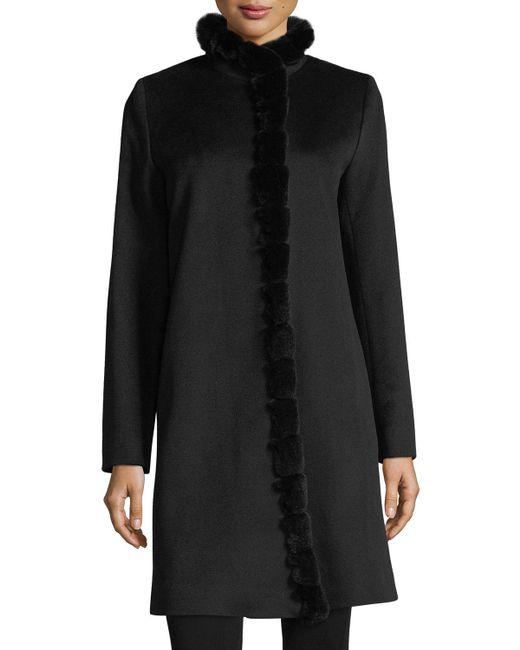 Fleurette - Black Fur-trimmed Stand-collar Wool Coat - Lyst